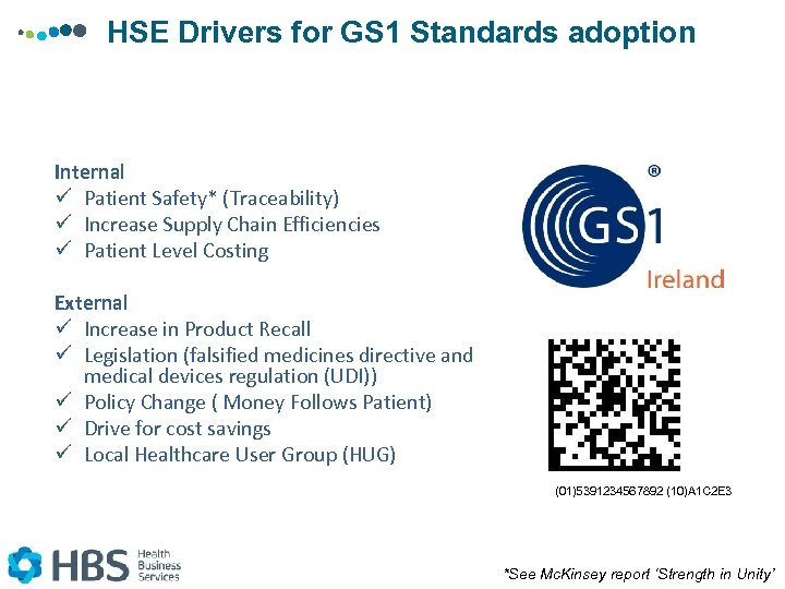 HSE Drivers for GS 1 Standards adoption Internal ü Patient Safety* (Traceability) ü Increase