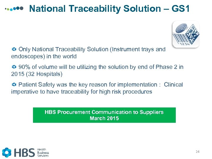 National Traceability Solution – GS 1 Only National Traceability Solution (Instrument trays and endoscopes)