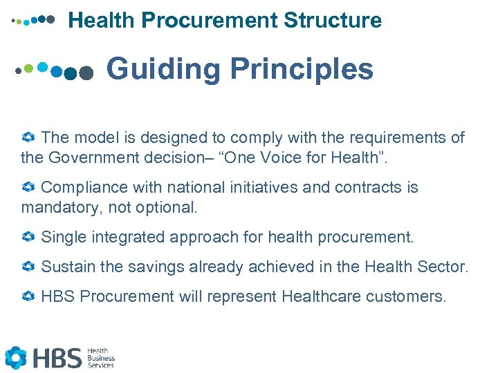 Health Procurement Structure Guiding Principles The model is designed to comply with the requirements