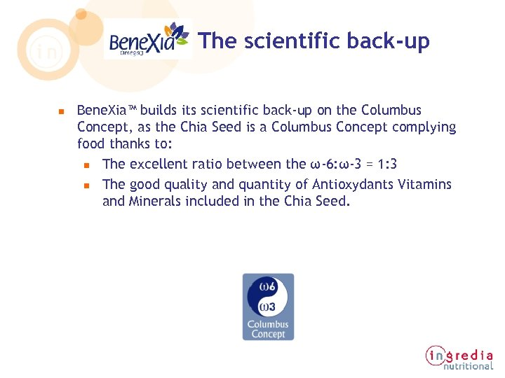 The scientific back-up n Bene. Xia™ builds its scientific back-up on the Columbus Concept,