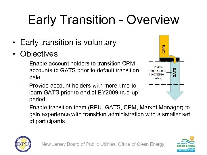 Early Transition - Overview • Early transition is voluntary • Objectives – Enable account