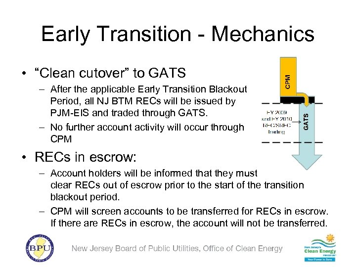 """Early Transition - Mechanics • """"Clean cutover"""" to GATS – After the applicable Early"""