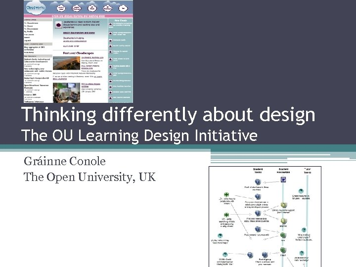Thinking differently about design The OU Learning Design Initiative Gráinne Conole The Open University,