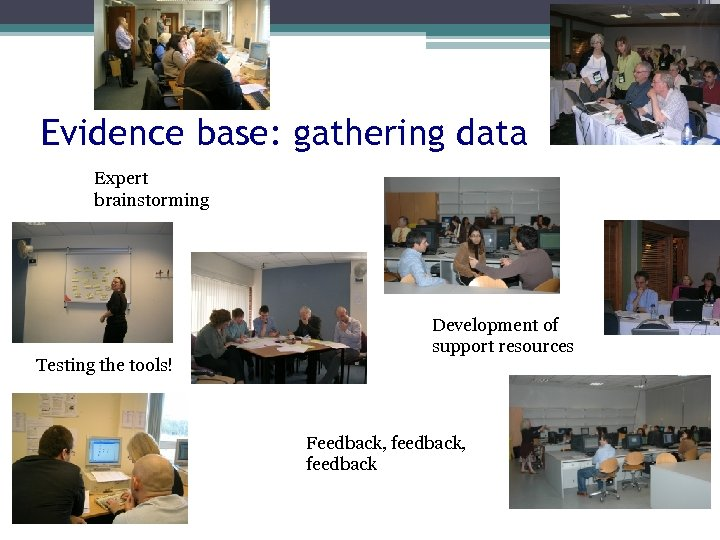 Evidence base: gathering data Expert brainstorming Testing the tools! Development of support resources Feedback,