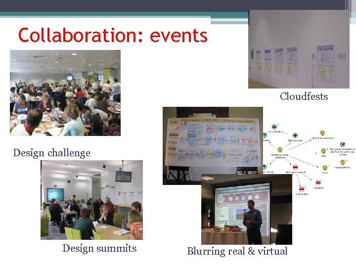 Collaboration: events Cloudfests Design challenge Design summits Blurring real & virtual