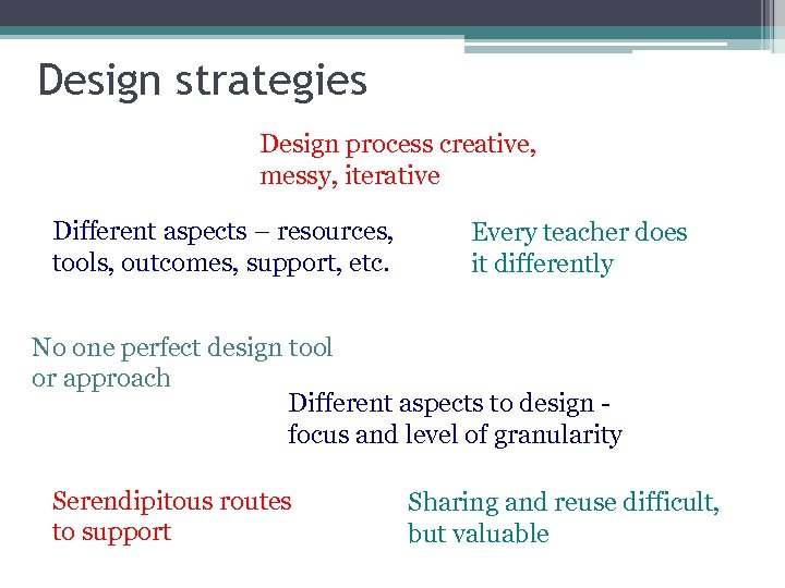 Design strategies Design process creative, messy, iterative Different aspects – resources, tools, outcomes, support,