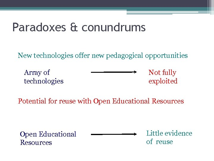 Paradoxes & conundrums New technologies offer new pedagogical opportunities Array of technologies Not fully