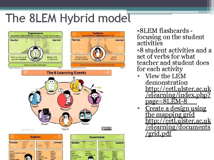 The 8 LEM Hybrid model • 8 LEM flashcards - focusing on the student