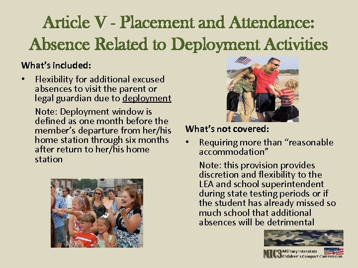 Article V - Placement and Attendance: Absence Related to Deployment Activities What's included: •
