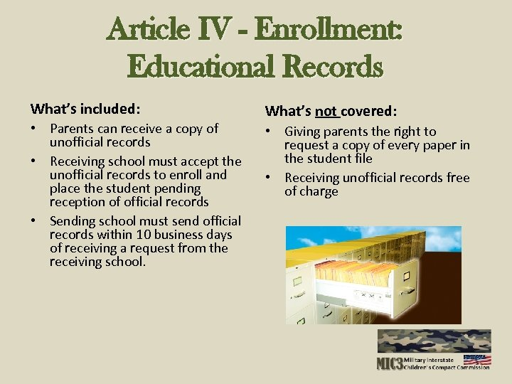 Article IV - Enrollment: Educational Records What's included: • Parents can receive a copy