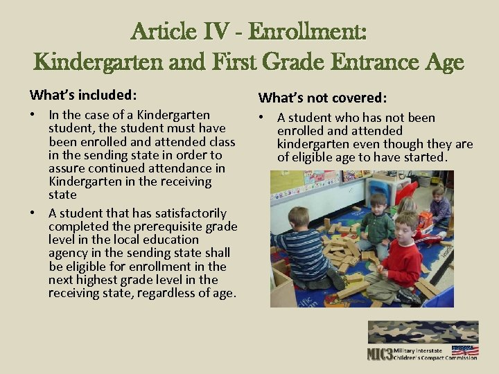 Article IV - Enrollment: Kindergarten and First Grade Entrance Age What's included: • In