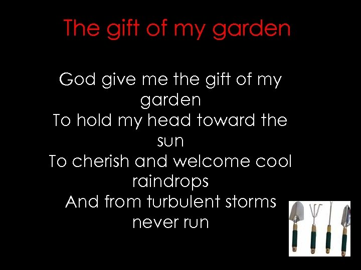 The gift of my garden God give me the gift of my garden To