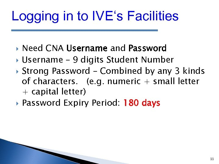 Logging in to IVE's Facilities Need CNA Username and Password Username – 9 digits