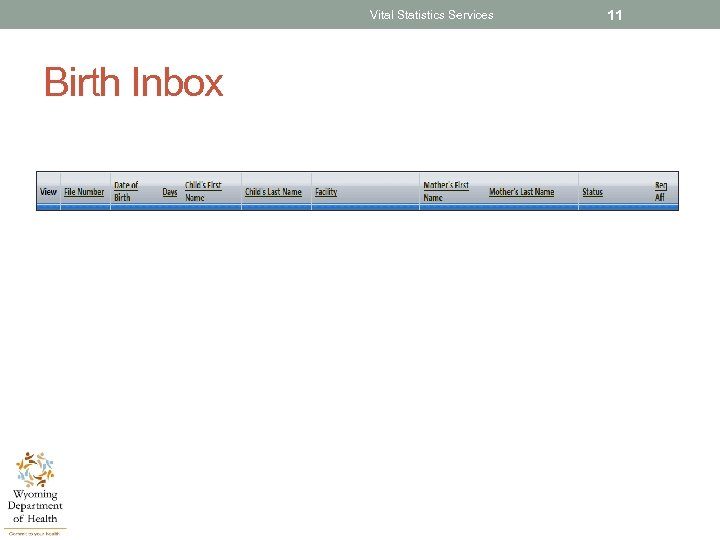 Vital Statistics Services Birth Inbox 11