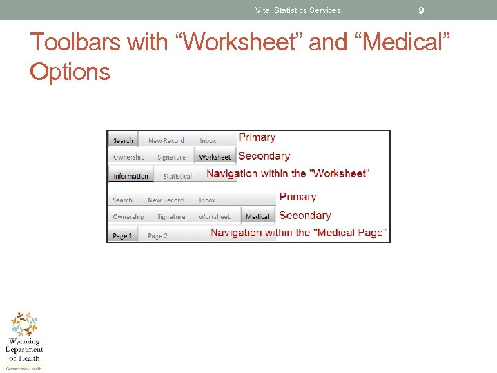 "Vital Statistics Services 9 Toolbars with ""Worksheet"" and ""Medical"" Options"