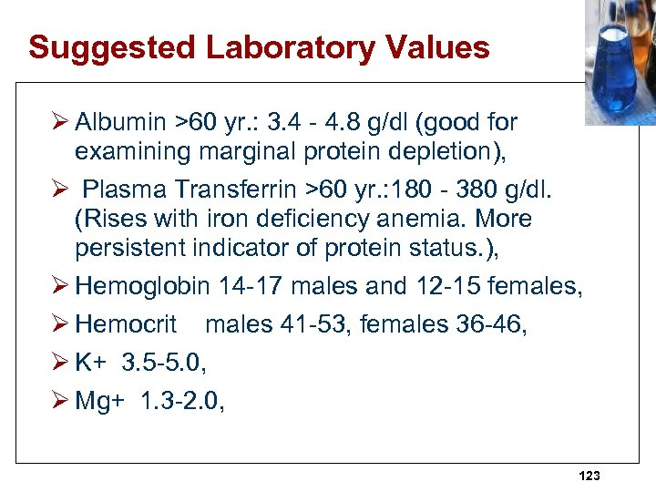 Suggested Laboratory Values Ø Albumin >60 yr. : 3. 4 - 4. 8 g/dl