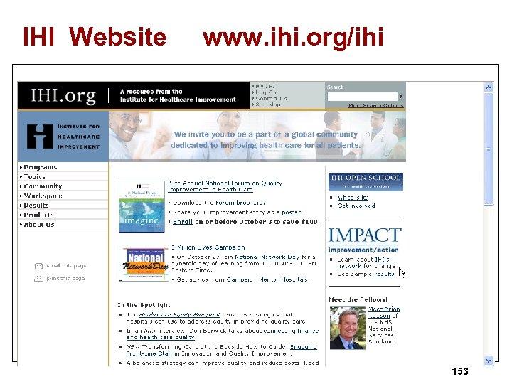 IHI Website www. ihi. org/ihi 153