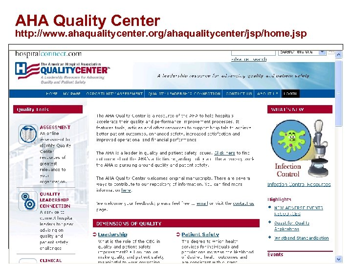 AHA Quality Center http: //www. ahaqualitycenter. org/ahaqualitycenter/jsp/home. jsp 155