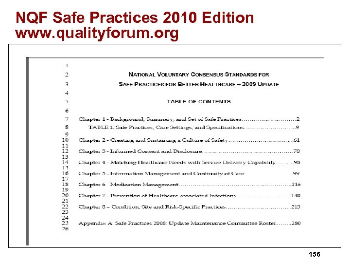 NQF Safe Practices 2010 Edition www. qualityforum. org 156