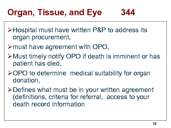 Organ, Tissue, and Eye 344 ØHospital must have written P&P to address its organ