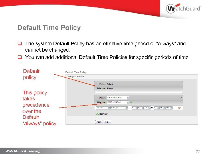 Default Time Policy q The system Default Policy has an effective time period of