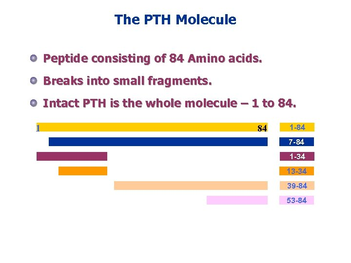 The PTH Molecule Peptide consisting of 84 Amino acids. Breaks into small fragments. Intact