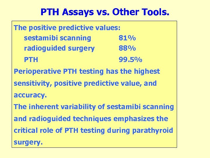 PTH Assays vs. Other Tools. The positive predictive values: sestamibi scanning 81% radioguided surgery