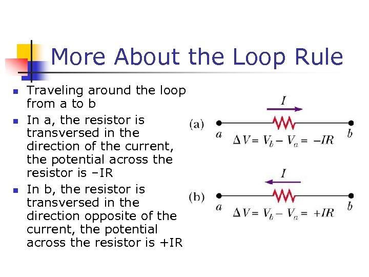 More About the Loop Rule n n n Traveling around the loop from a