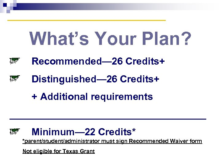 What's Your Plan? Recommended— 26 Credits+ Distinguished— 26 Credits+ + Additional requirements __________________ Minimum—
