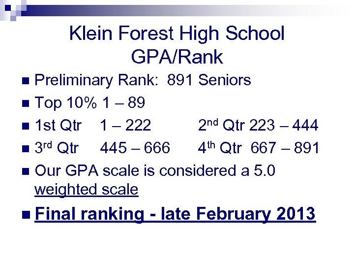 Klein Forest High School GPA/Rank Preliminary Rank: 891 Seniors n Top 10% 1 –