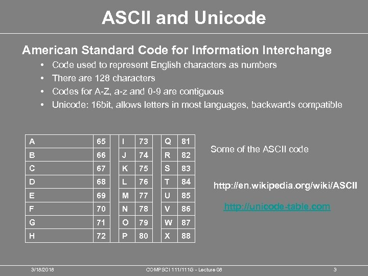 ASCII and Unicode American Standard Code for Information Interchange • • Code used to