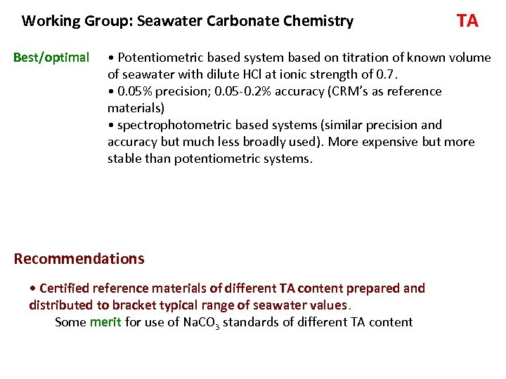 Working Group: Seawater Carbonate Chemistry Best/optimal TA • Potentiometric based system based on titration