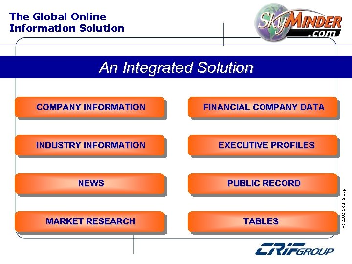 The Global Online Information Solution An Integrated Solution INDUSTRY INFORMATION NEWS MARKET RESEARCH FINANCIAL