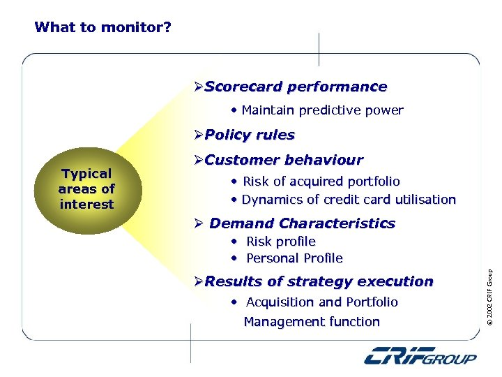 What to monitor? ØScorecard performance • Maintain predictive power ØPolicy rules • Dynamics of