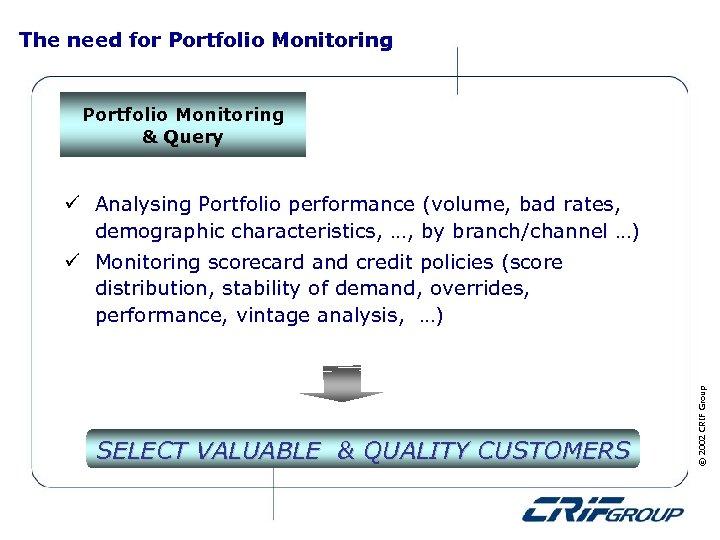 The need for Portfolio Monitoring & Query ü Analysing Portfolio performance (volume, bad rates,