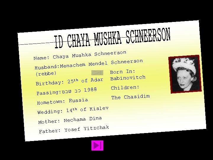 hneerson ya Mushka Sc Name: Cha hneerson em Mendel Sc ch Husband: Mena Born