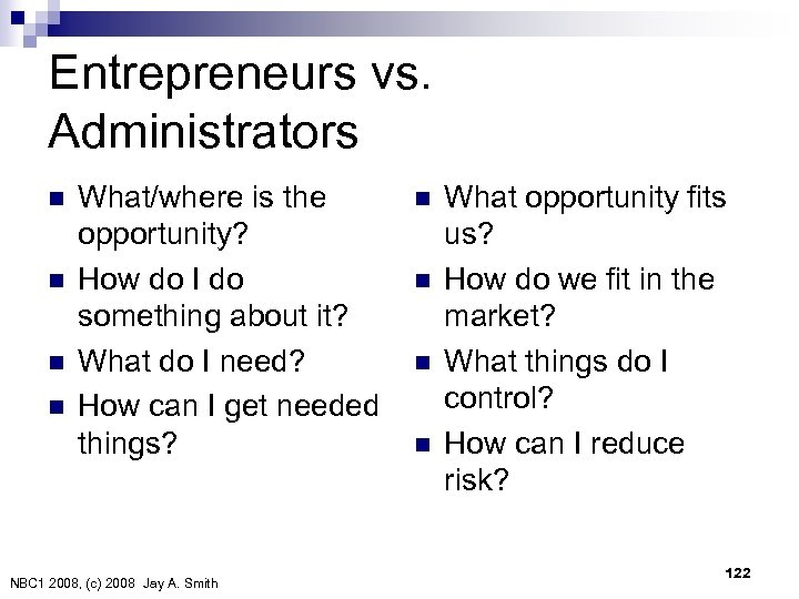 Entrepreneurs vs. Administrators n n What/where is the opportunity? How do I do something