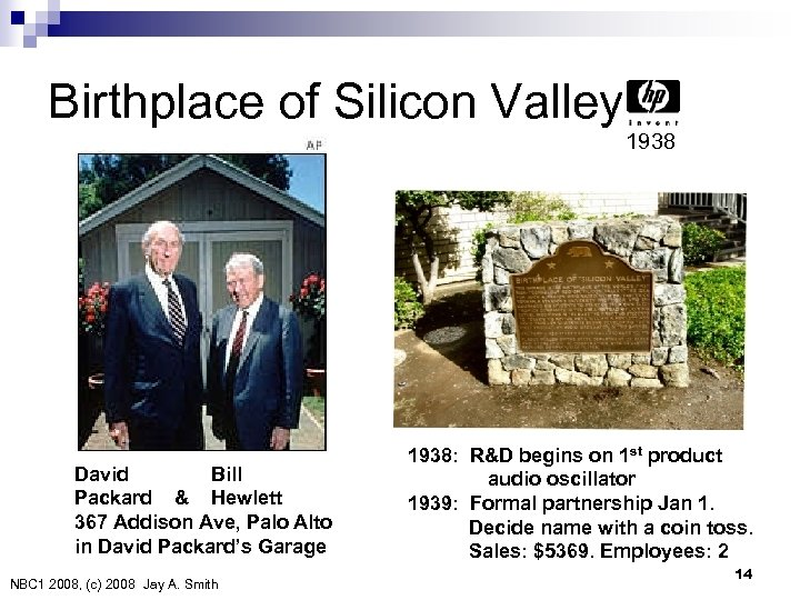 Birthplace of Silicon Valley 1938 David Bill Packard & Hewlett 367 Addison Ave, Palo
