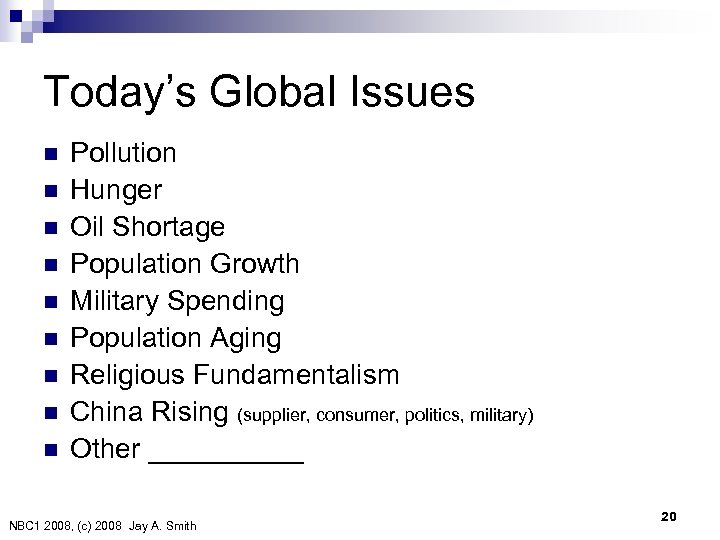Today's Global Issues n n n n n Pollution Hunger Oil Shortage Population Growth