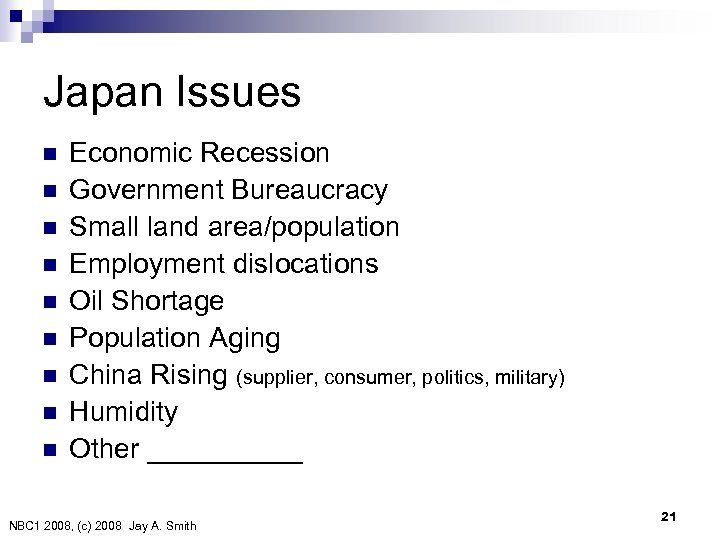 Japan Issues n n n n n Economic Recession Government Bureaucracy Small land area/population