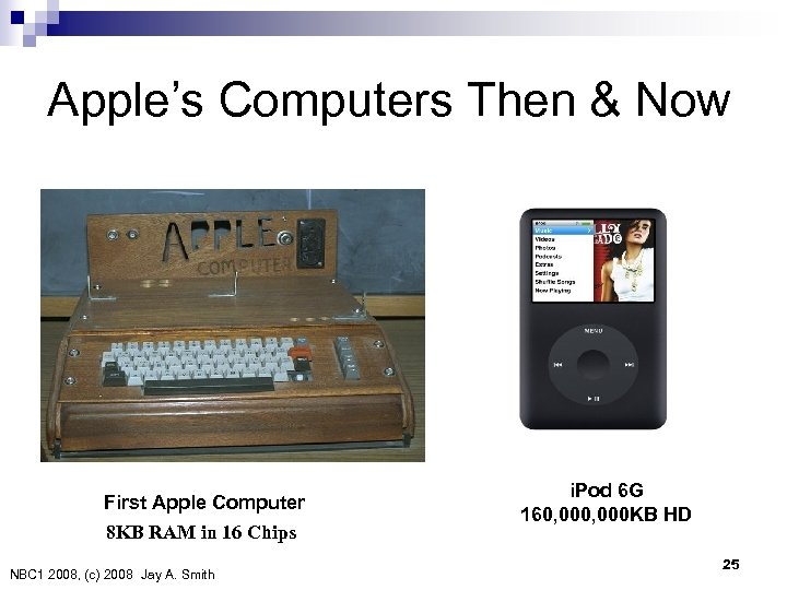 Apple's Computers Then & Now First Apple Computer 8 KB RAM in 16 Chips
