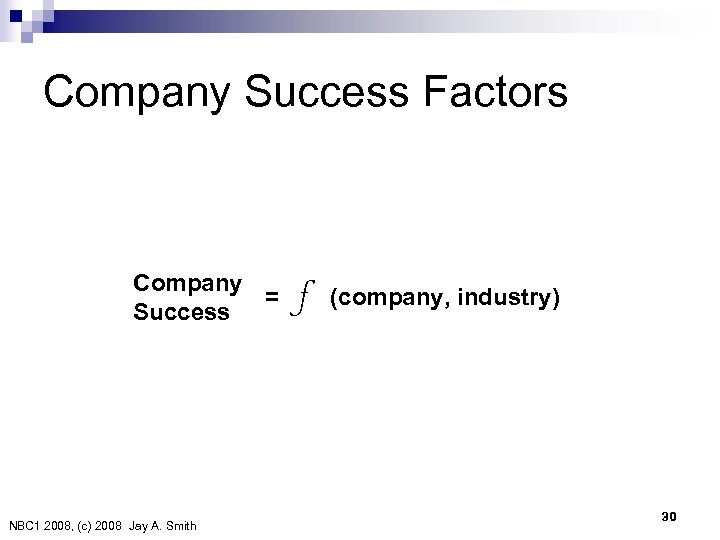 Company Success Factors Company = (company, industry) Success f NBC 1 2008, (c) 2008 Jay
