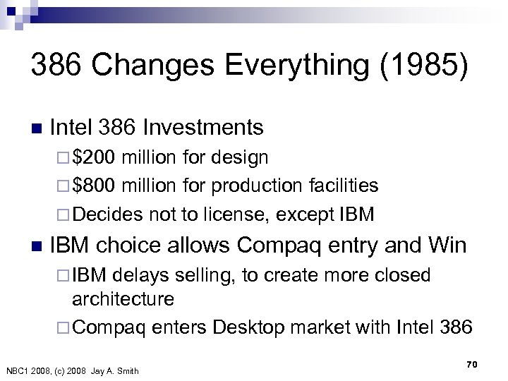 386 Changes Everything (1985) n Intel 386 Investments ¨ $200 million for design ¨