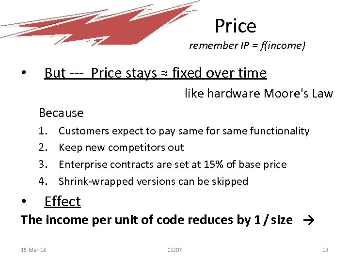 Price remember IP = f(income) • But --- Price stays ≈ fixed over time