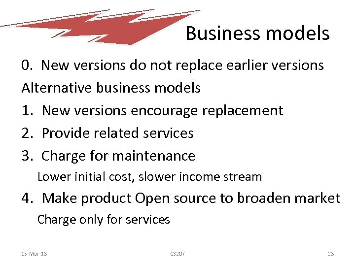 Business models 0. New versions do not replace earlier versions Alternative business models 1.