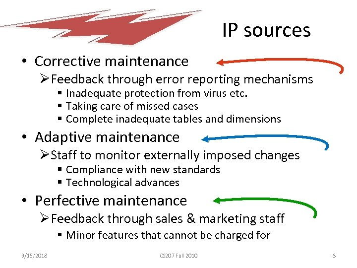 IP sources • Corrective maintenance ØFeedback through error reporting mechanisms § Inadequate protection from