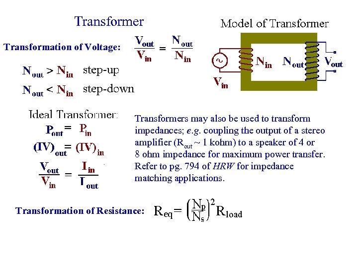 Transformer Transformation of Voltage: Transformers may also be used to transform impedances; e. g.