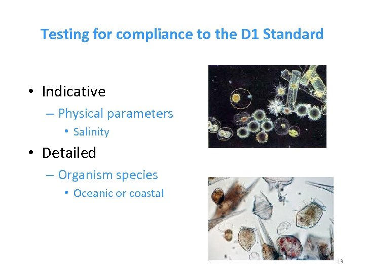 Testing for compliance to the D 1 Standard • Indicative – Physical parameters •