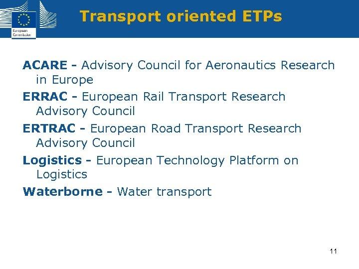 Transport oriented ETPs ACARE - Advisory Council for Aeronautics Research in Europe ERRAC -