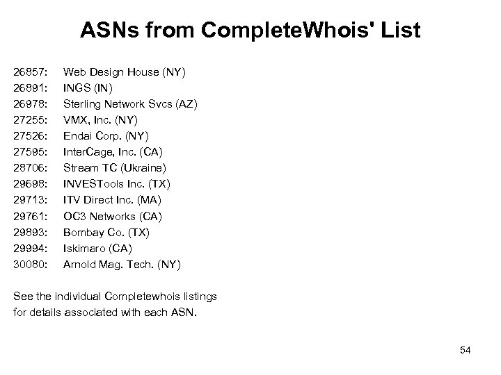 ASNs from Complete. Whois' List 26857: 26891: 26978: 27255: 27526: 27595: 28706: 29698: 29713: